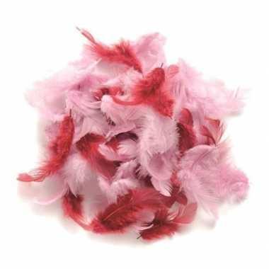 10 gram decoratie veren roze tinten