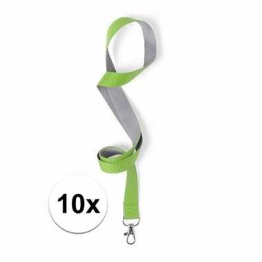 10 groene lanyards gemaakt van polyester 50 x 2 cm