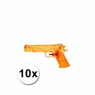 10 oranje kleine waterpistooltjes 20 cm