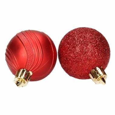 10 rode kerstballen glitter en mat
