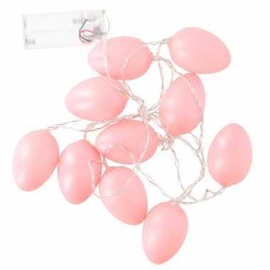 10 roze paaseieren met led