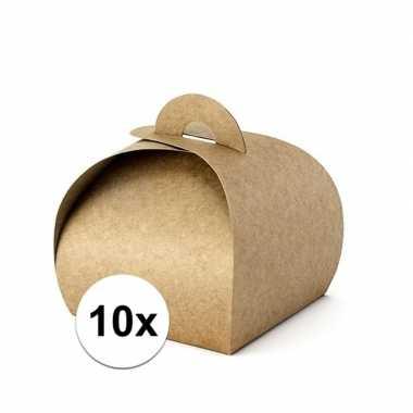 10 stuks cadeau doosjes bruin 8,5 cm
