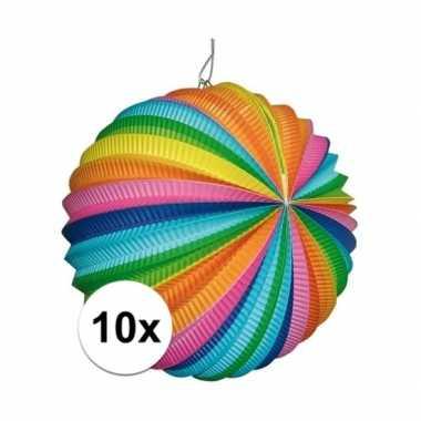 10 stuks fel gekleurde lantaarns rond