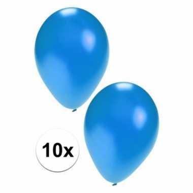 10 stuks metallic blauwe ballonnen 36 cm