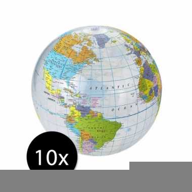 10 stuks opblaas strandballen wereldbollen