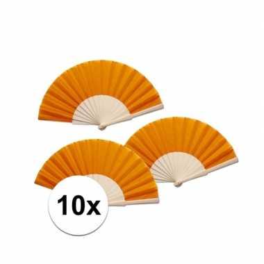 10 stuks voordelige oranje waaier 42 x 23 cm