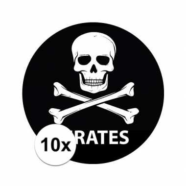10 stuks zwarte piraten stickers 14,8 cm