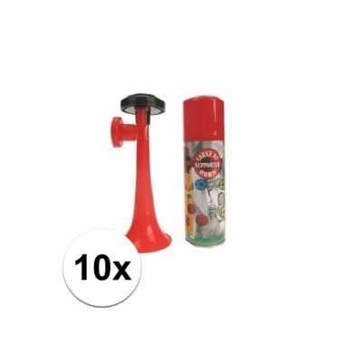 10 voetbal gas toeters 70 ml