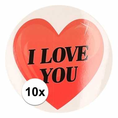 10 x cadeaustickers i love you hart 9 cm