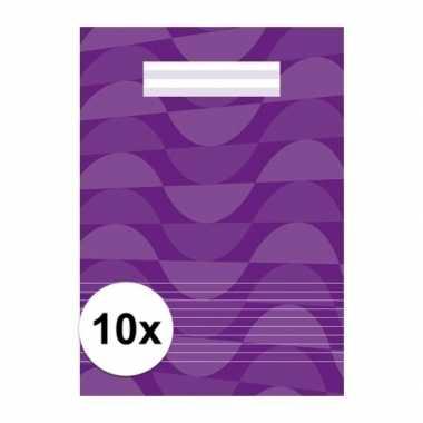 10 x paarse school schriften a4 met lijntjes