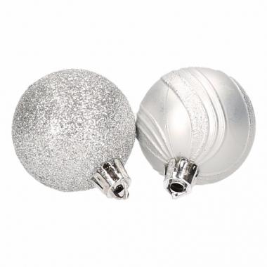 10 zilveren kerstballen glitter en mat