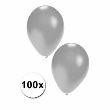100 stuks zilveren feest ballonnen