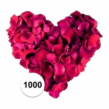 1000 luxe bordeaux donkerrode rozenblaadjes van stof
