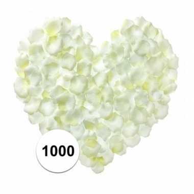 1000 luxe witte rozenblaadjes van stof