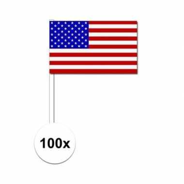 100x amerikaanse zwaaivlaggetjes 12 x 24 cm