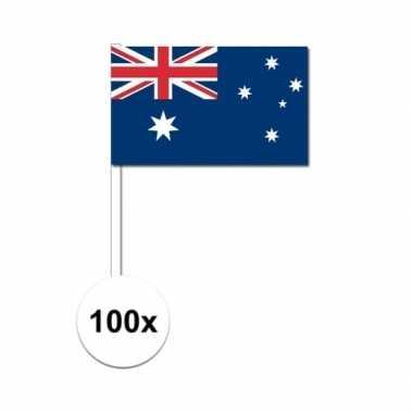 100x australische zwaaivlaggetjes 12 x 24 cm