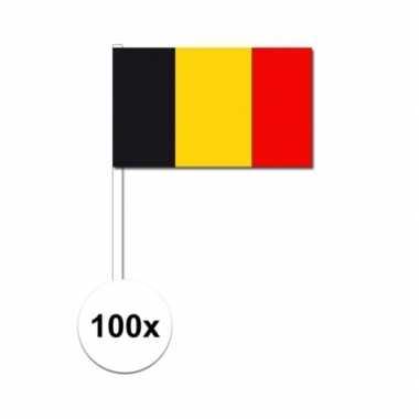 100x belgische zwaaivlaggetjes 12 x 24 cm