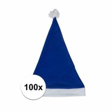 100x blauwe voordelige kerstmuts voor volwassenen