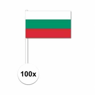 100x bulgaarse zwaaivlaggetjes 12 x 24 cm
