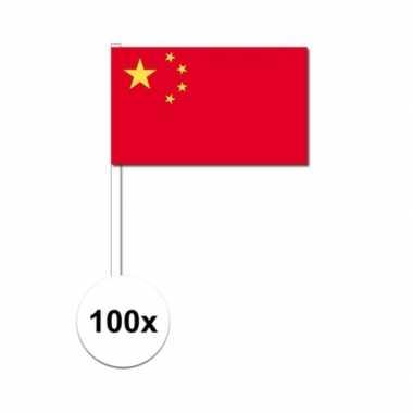 100x chinese zwaaivlaggetjes 12 x 24 cm