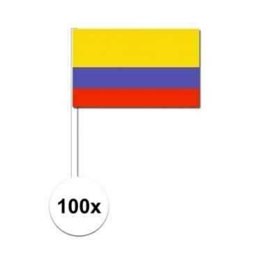 100x colombiaanse zwaaivlaggetjes 12 x 24 cm