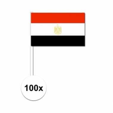 100x egyptische zwaaivlaggetjes 12 x 24 cm
