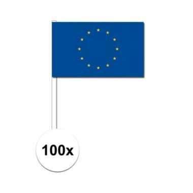 100x europese zwaaivlaggetjes 12 x 24 cm