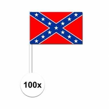 100x geconfedereerde staten van amerika zwaaivlaggetjes 12 x 24