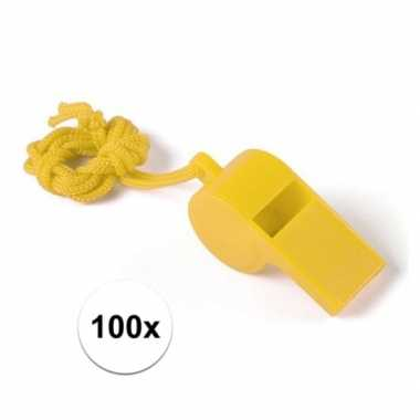 100x geel fluitje aan koord