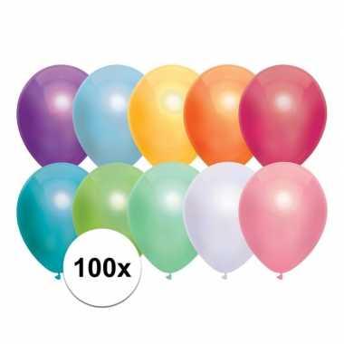 100x gekleurde metallic ballonnen 30 cm