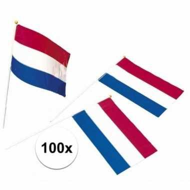 100x holland zwaaivlaggetjes van plastic