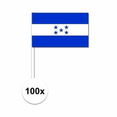 100x hondurese zwaaivlaggetjes 12 x 24 cm