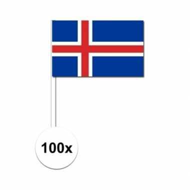 100x ijslandse zwaaivlaggetjes 12 x 24 cm