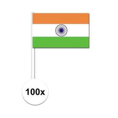 100x indiase zwaaivlaggetjes 12 x 24 cm