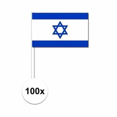 100x israelische zwaaivlaggetjes 12 x 24 cm