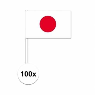 100x japanse zwaaivlaggetjes 12 x 24 cm