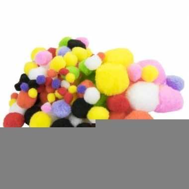 100x knutsel pompons gekleurd