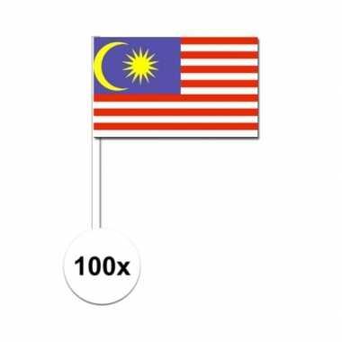 100x maleisische zwaaivlaggetjes 12 x 24 cm