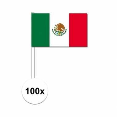 100x mexicaanse zwaaivlaggetjes 12 x 24 cm