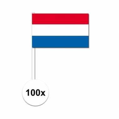100x nederlandse zwaaivlaggetjes 12 x 24 cm