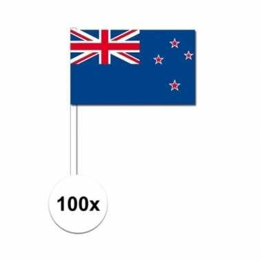 100x nieuw zeelandse zwaaivlaggetjes 12 x 24 cm