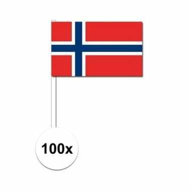 100x noorse zwaaivlaggetjes 12 x 24 cm