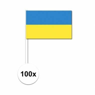 100x oekraiense zwaaivlaggetjes 12 x 24 cm