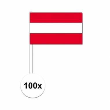 100x oostenrijkse zwaaivlaggetjes 12 x 24 cm