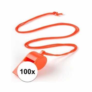 100x oranje fluitje aan koord