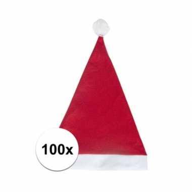 100x rode voordelige kerstmuts voor volwassenen