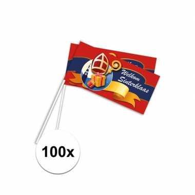 100x rood welkom sinterklaas zwaaivlaggetjes