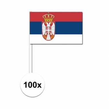 100x servische zwaaivlaggetjes 12 x 24 cm