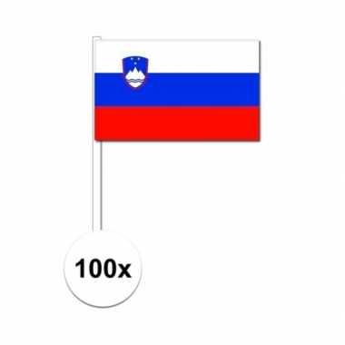 100x sloveense zwaaivlaggetjes 12 x 24 cm