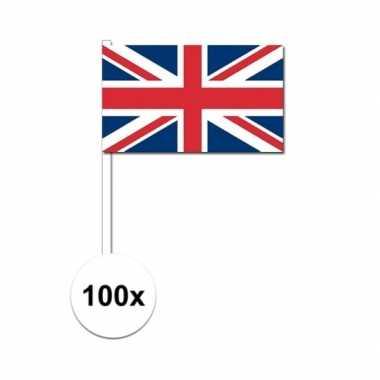 100x verenigd koninkrijk zwaaivlaggetjes 12 x 24 cm